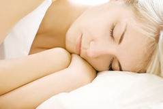 Portrait of a beautiful sleeping woman (shallow Do Royalty Free Stock Photo