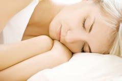 Portrait of a beautiful sleeping woman (shallow Do royalty free stock photo