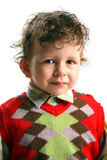 Portrait of beautiful small boy with funny curly h. Air, white background Stock Photos