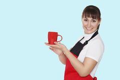 Portrait of beautiful smiley woman with a cup in hands over blue Royalty Free Stock Image