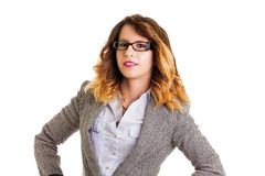 Portrait of a beautiful smiling businesswoman. With glasses isolated on white Stock Photo
