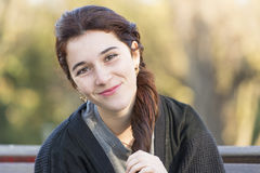 Portrait of beautiful smiling caucasian young woman, outdoor. Royalty Free Stock Photography