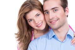 Portrait of beautiful smiling couple. Closeup portrait of beautiful smiling couple isolated on white background. Attractive men and women being playful stock image