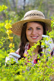 Portrait of a beautiful and smiling gardener Stock Image