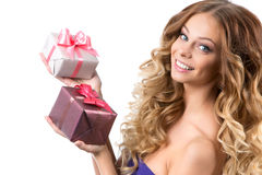 Portrait of beautiful smiling girl with gifts Fotos de Stock