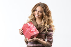 Portrait of beautiful smiling girl with gifts Stock Photos