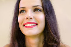 Portrait of beautiful smiling girl with long black hair Royalty Free Stock Photos