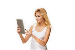 Portrait of beautiful smiling girl with modern laptop Stock Images