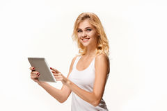Portrait of beautiful smiling girl with modern laptop Stock Photo