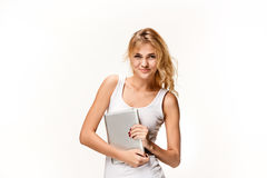 Portrait of beautiful smiling girl with modern laptop Royalty Free Stock Image