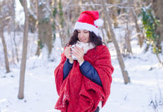 Portrait of a beautiful smiling girl in santa hat in winter forest Royalty Free Stock Photos