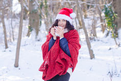 Portrait of a beautiful smiling girl in santa hat in winter forest Stock Images