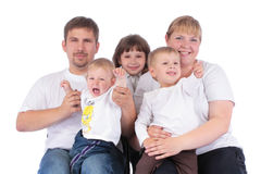 Portrait of beautiful smiling happy family of five. Isolated over a white background royalty free stock photos
