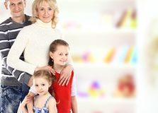 Portrait of beautiful smiling happy family of four Royalty Free Stock Photography