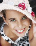 Portrait of beautiful smiling little girl. With green eyes Stock Images