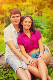 Portrait of beautiful smiling and lloking at camera couple insta Stock Photo