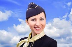 Portrait of beautiful smiling stewardess Stock Photos