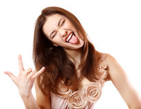 Portrait of beautiful smiling teen girl happy ecstatic gesturing. Portrait of beautiful smiling teen girl happy ecstatic make faces and gesturing with her hand Royalty Free Stock Images