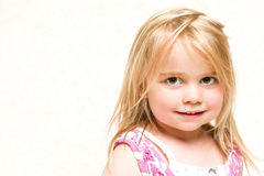 Portrait of Beautiful Smiling Toddler Girl with Blonde Hair Stock Images