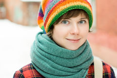 Portrait of beautiful smiling woman in colorful hippy hat Royalty Free Stock Photo