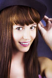 Portrait of beautiful smiling woman with hat Stock Photos