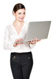 Smiling woman holds laptop on hands Stock Photography
