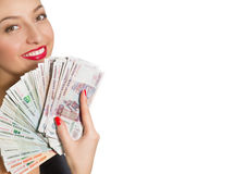 Portrait of beautiful smiling woman with money Stock Photos