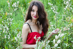 Portrait of beautiful smiling woman in red dress in flower field Stock Photography