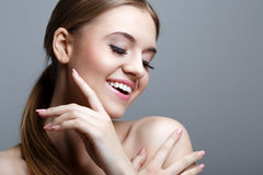 Portrait of the beautiful smiling woman Royalty Free Stock Photos
