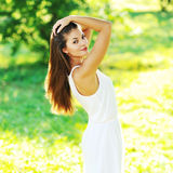 Portrait of beautiful smiling woman in a summertime Royalty Free Stock Photography