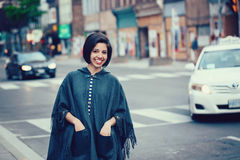 Portrait of beautiful smiling young hipster latin hispanic girl woman with short hair bob Royalty Free Stock Image