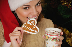 Portrait of beautiful smiling young woman with cookies near Chri Royalty Free Stock Images
