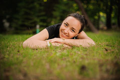 Portrait of beautiful smiling young woman in nature Royalty Free Stock Photos