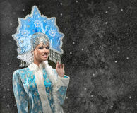 Portrait of a beautiful snow maiden Royalty Free Stock Images