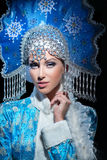 Portrait of a beautiful snow maiden Royalty Free Stock Photo