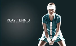 Portrait of beautiful sport woman tennis player with a racket. Portrait of beautiful girl tennis player with a racket isolated on dark background Royalty Free Stock Photography