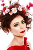Portrait of a beautiful spring girl wearing flowers in hair. Stu Royalty Free Stock Photography