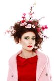 Portrait of a beautiful spring girl wearing flowers in hair. Stu Royalty Free Stock Photo