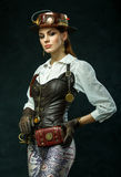 Portrait of a beautiful steampunk girl royalty free stock images