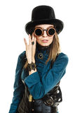 Portrait beautiful steampunk woman in glasses isolated. Portrait of beautiful elegant steampunk retro woman in glasses black hat studio shot isolated on white stock photo