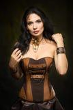 Portrait of a beautiful steampunk woman Stock Photos