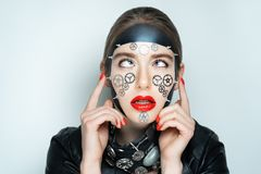 Woman steam punk face stock image