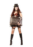 Portrait of a beautiful steampunk woman traveler. Stay full height and holding retro suitcase isolated on white background royalty free stock photos