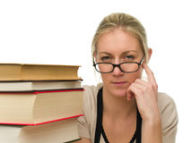Portrait of Beautiful Student with Books Royalty Free Stock Images