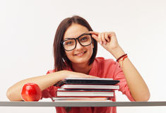 Portrait of a beautiful student with books. Beautiful female student with books Stock Photography