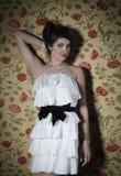 Portrait of the beautiful stylish brunette woman Stock Image