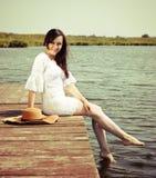 Portrait of the beautiful stylish brunette woman Stock Images