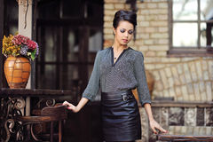Portrait of a beautiful stylish girl with great makeup and gorge Royalty Free Stock Photography
