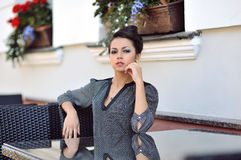 Portrait of a beautiful stylish girl with great makeup and gorge Stock Images