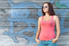 Portrait of beautiful stylish girl. Stock Photography
